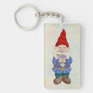 Garden Gnome with Flower keychain