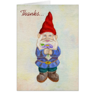 Garden Gnome with Flower thank you card