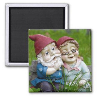 Garden Gnomes Couple 2 Inch Square Magnet
