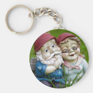 Garden Gnomes Couple Button Keychain