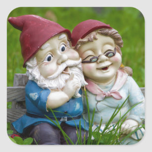 Garden Gnomes Couple Square Sticker