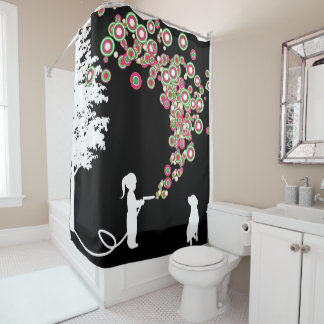 garden graffiti banksy style black shower curtain