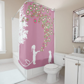 garden graffiti banksy style pink shower curtain