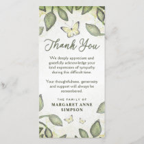 Garden Green Floral Butterfly Sympathy Thank You