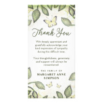 Garden Green Floral Butterfly Sympathy Thank You Card