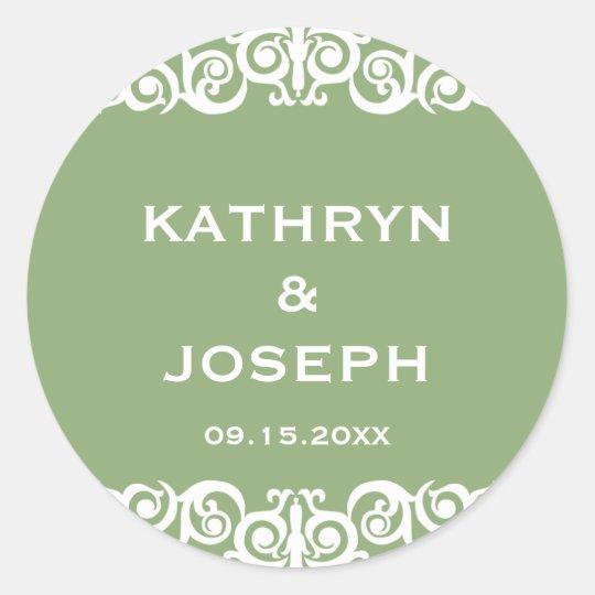 Garden green Victorian scroll wedding favor label