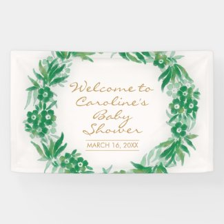 Garden Greenery Baby Shower Banner