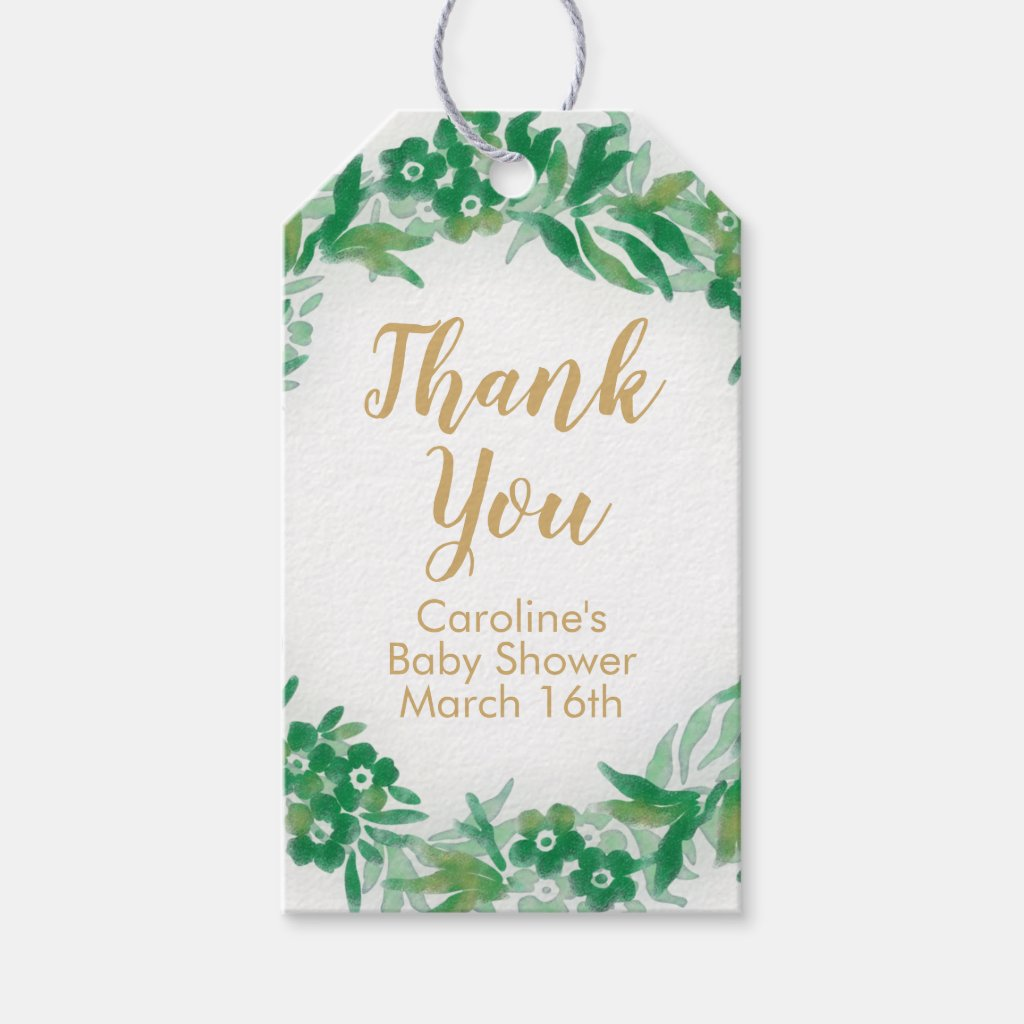 Garden Greenery Baby Shower Gift Tag green & gold