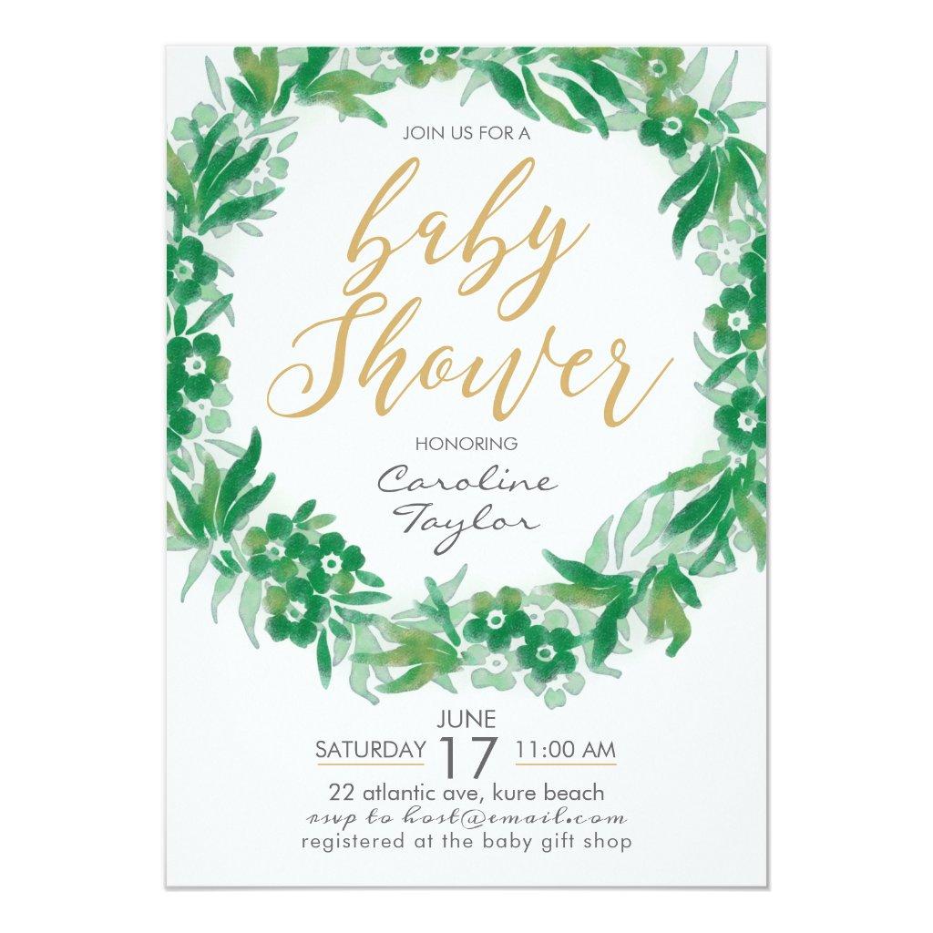 Garden Greenery Baby Shower Invitation green-gold