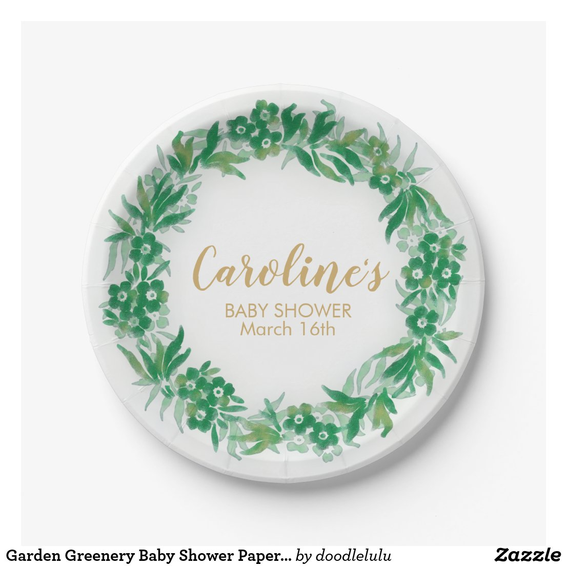 Garden Greenery Baby Shower Paper Plate green-gold