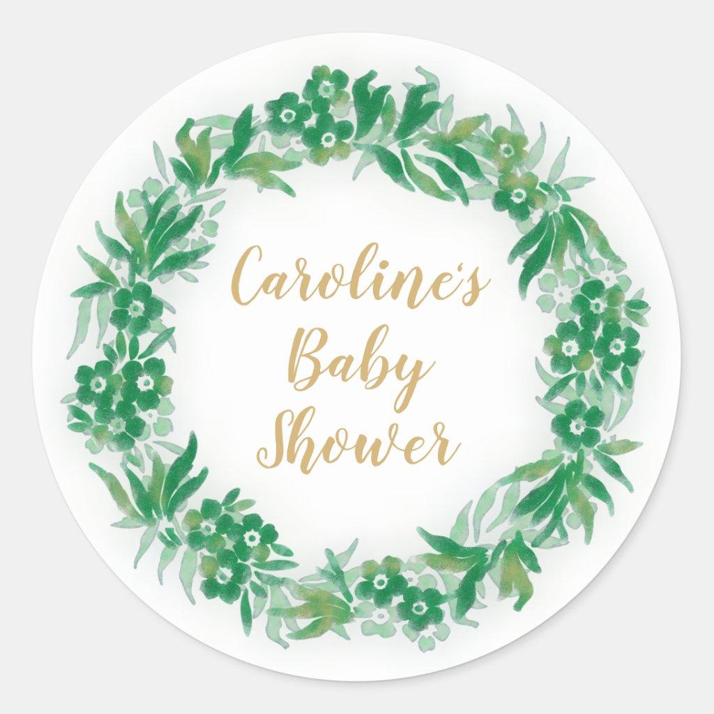 Garden Greenery Baby Shower Round Sticker green