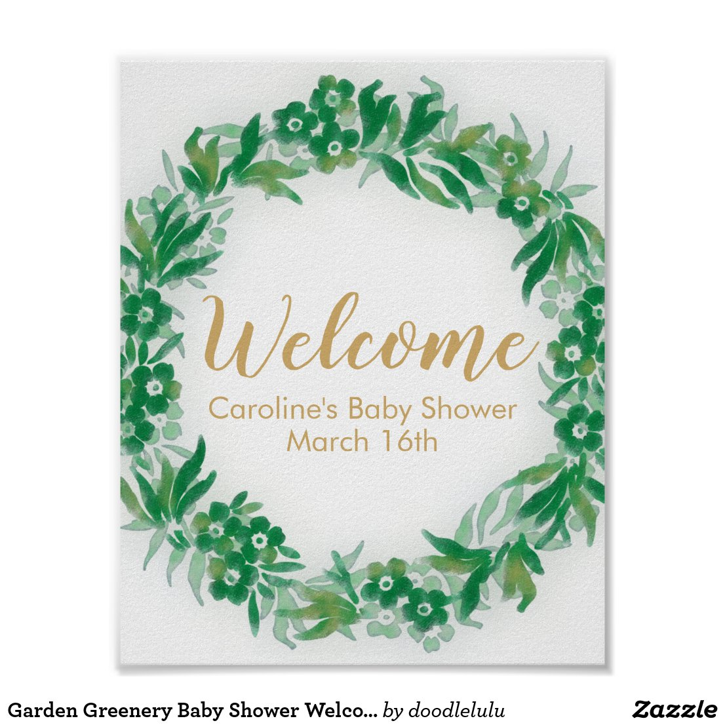 Garden Greenery Baby Shower Welcome Sign green