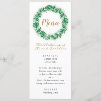 Garden Greenery Boho Wedding Menu
