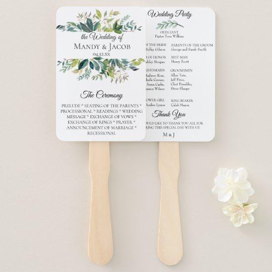 Garden Greenery Bouquet Wedding Program Fans
