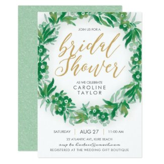 Garden Greenery & Gold Bridal Shower Invitation