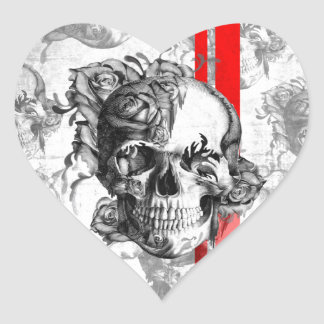 Garden Grove surfabilly skull Heart Stickers