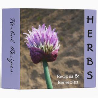 Garden Herb Recipe Book 3 Ring Binder