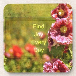 Garden Hollyhock Floral Joy Drink Coaster