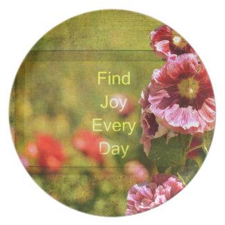 Garden Hollyhock Floral Joy Melamine Plate