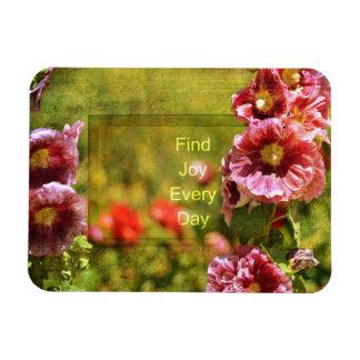 Garden Hollyhock Floral Joy Rectangle Magnets