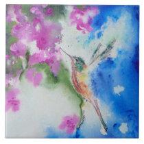 Garden Hummingbird Ceramic Tile Coaster Trivet