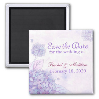 Garden Hydrangea Blooms Wedding Save the Date 2 Inch Square Magnet