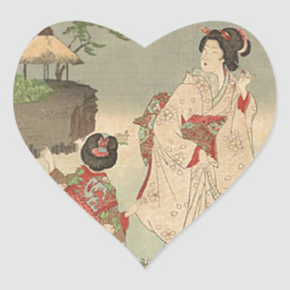 Garden in Early Summer by Toyohara Chikanobu Heart Sticker