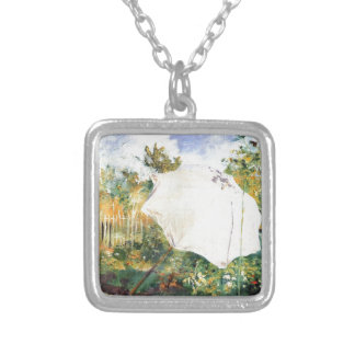 Garden in Grez -1883 Silver Plated Necklace
