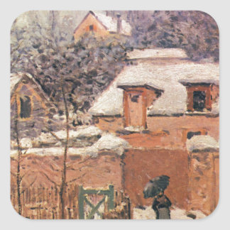 Garden in Louveciennes in the Snow Alfred Sisley Square Sticker