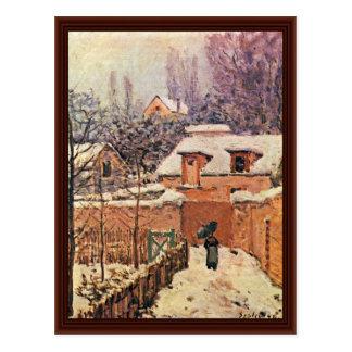 Garden In Louveciennes In The Snow Postcard