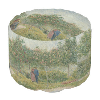 Garden in Montmartre with Lovers by Van Gogh Pouf