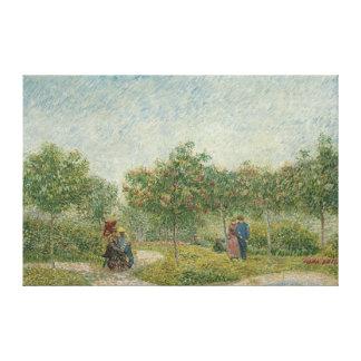 Garden in Montmartre with lovers Canvas Print