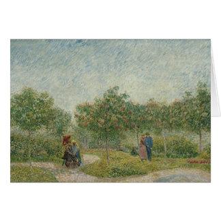 Garden in Montmartre with lovers Card