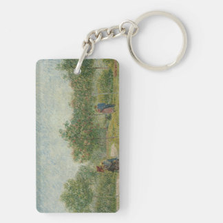 Garden in Montmartre with lovers Double-Sided Rectangular Acrylic Keychain