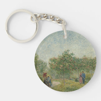 Garden in Montmartre with lovers Keychain
