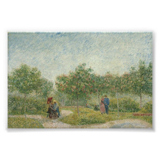 Garden in Montmartre with lovers Photographic Print