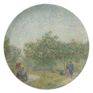 Garden in Montmartre with lovers Plate