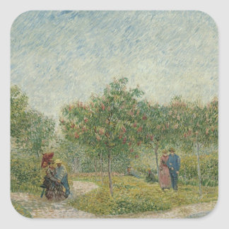 Garden in Montmartre with lovers Square Sticker