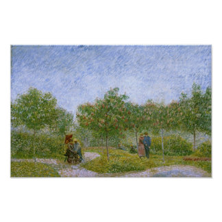 Garden in Montmartre with Lovers, Vincent van Gogh Poster