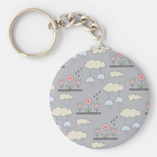 Garden in The Sky Basic Round Button Key Ring