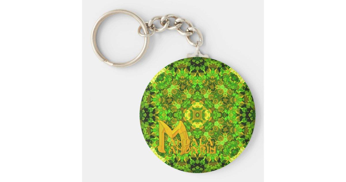 Garden Inlay Mandala Mandarin Logo keychain Zazzle