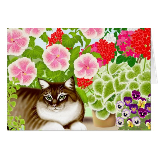 Garden Jungle Cat Card