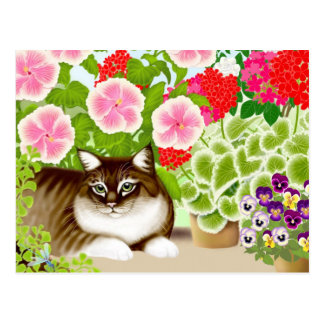 Garden Jungle Tiger Cat Postcard