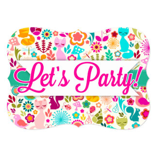 "Garden Kitty ""Let's Party!"" Invitations"