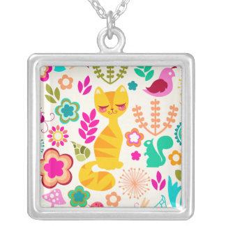 Garden Kitty Square Pendant Necklace