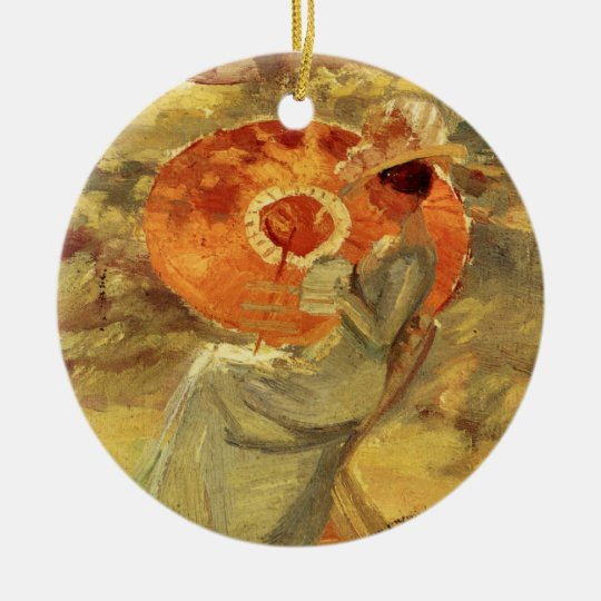 Garden lady with umbrella painting art Anna Ancher Ceramic Ornament