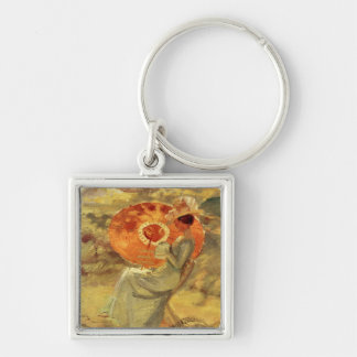 Garden lady with umbrella painting art Anna Ancher Keychain