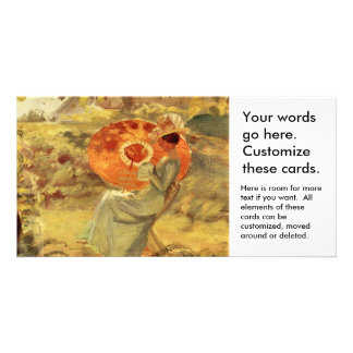Garden lady with umbrella painting art Anna Ancher Photo Card Template