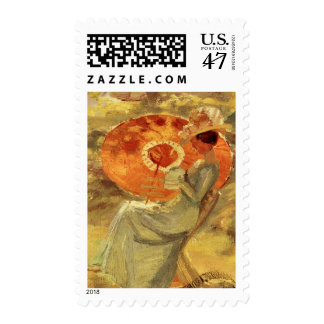 Garden lady with umbrella painting art Anna Ancher Postage