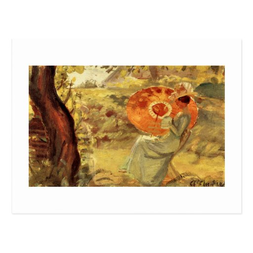 Garden lady with umbrella painting art Anna Ancher Postcard